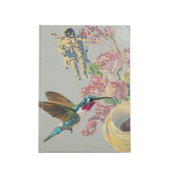 Notizbuch / Skizzenbuch, A5, Astronaut & Kolibri, sand