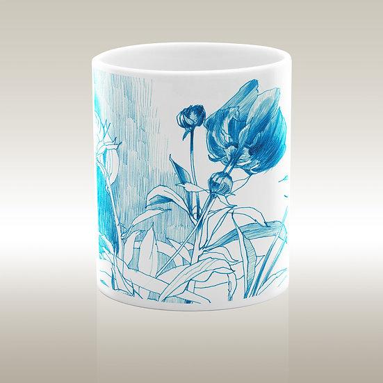 Keramiktasse, Blumen blau