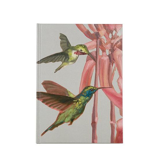 Notizbuch / Skizzenbuch, A5, Kolibri und exotische Blume, Sand