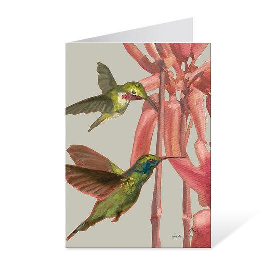 Klappkarte mit Kuvert, Kolibri mit exotischer Blume