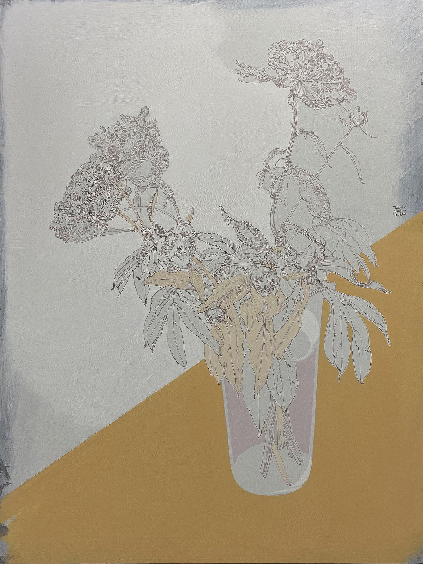 Pfingstrosen in einer Glasvase