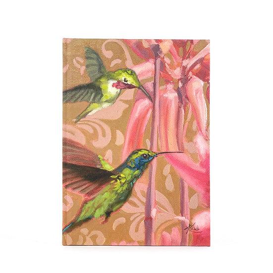 Notizbuch / Skizzenbuch, A5, Kolibri und exotische Blume