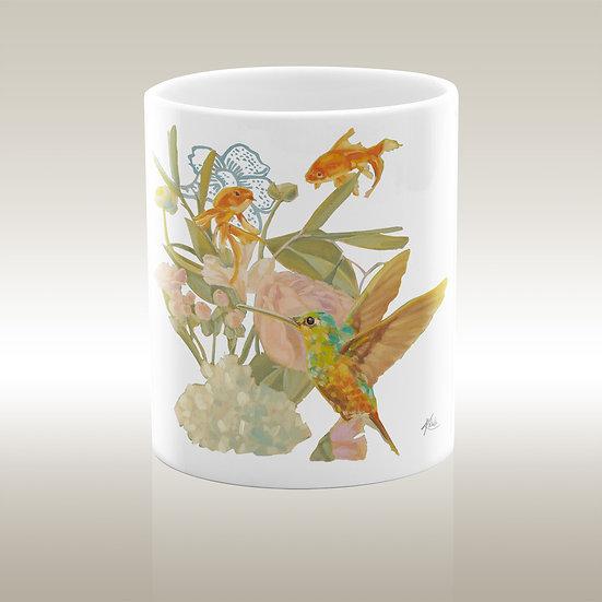 Art-on-a-mug – Keramiktasse, Fische und Kolibrie