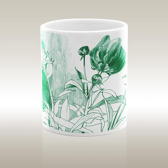 Keramiktasse, Blumen grün