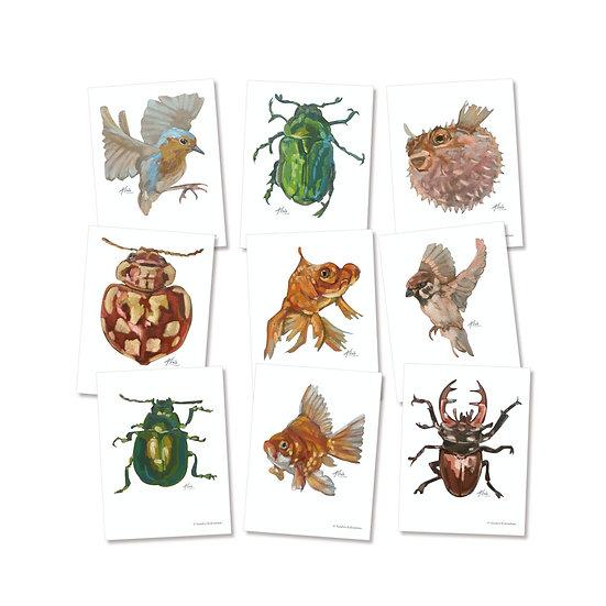 Postkarten-Set, 10 verschiedene Motive, Freche Heldinnen und süße Kerle,