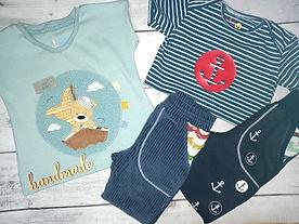 handmade Bio-Baby- und Kinderbekleidung mit Stickapplikation Cordnicky Stoffonkel Streifen maritim