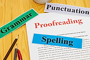 proofreading paper on table with office