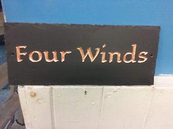 """Welsh Slate 10""""x 5"""" Eagle lake font with copper leaf gilding"""