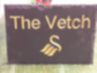 "Swansea City Logo and Vetch, in Gold leaf on a 10""x7"" welsh slate"