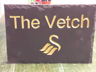 """Swansea City Logo and Vetch, in Gold leaf on a 10""""x7"""" welsh slate"""