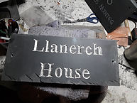 """10""""x5"""" welsh slate with times new roman font & sterling silvergilding"""