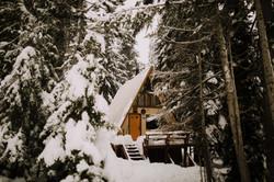A-Frame Cabin versteckt im winterlichen Kiefernwald