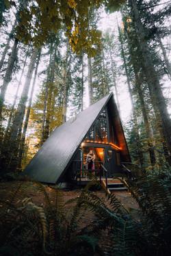 A-Frame Cabin im Wald