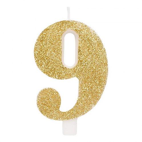 Candelina glitter numero 9 oro h. cm. 9.5