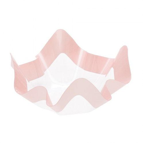 Contenitore in plastica PET trasparente con riga rosa Cm 22,5x22,5x12