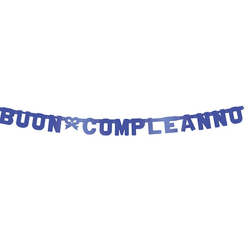 Festone buon compleanno blu metal 2.65 mt