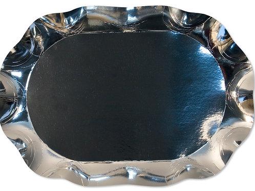Vassoio Rettangolare Argento Lucido Cartoncino mis. 46x33