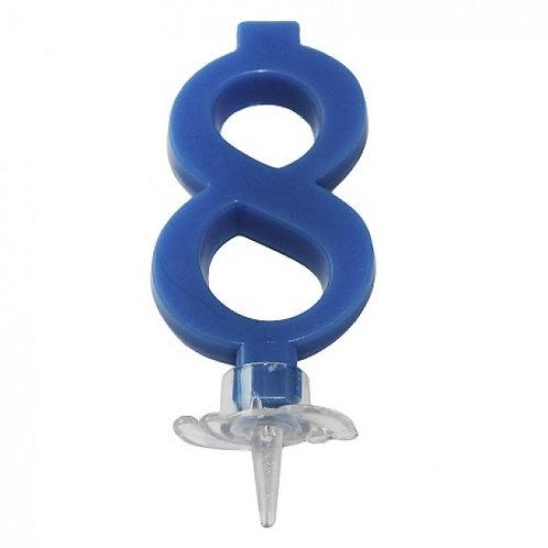 Candelina numero 8 blu cm.7