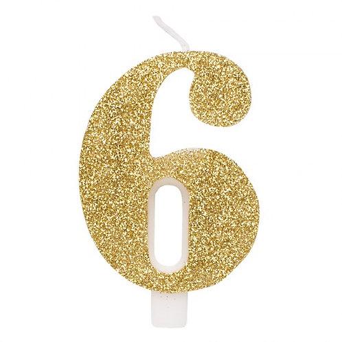 Candelina glitter numero 6 oro h. cm. 9.5