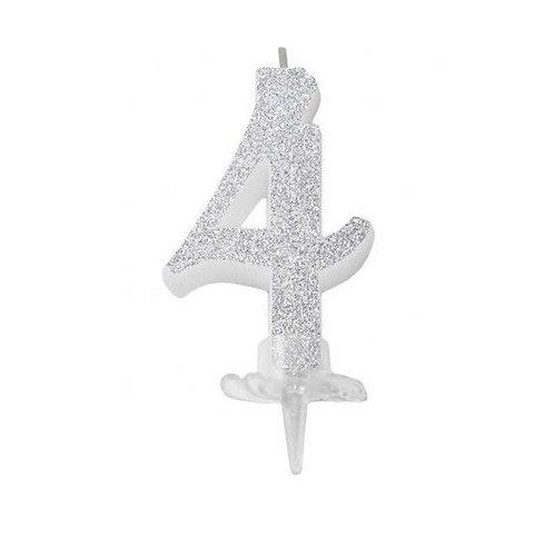 Candelina numero 4 glitter argento cm.7