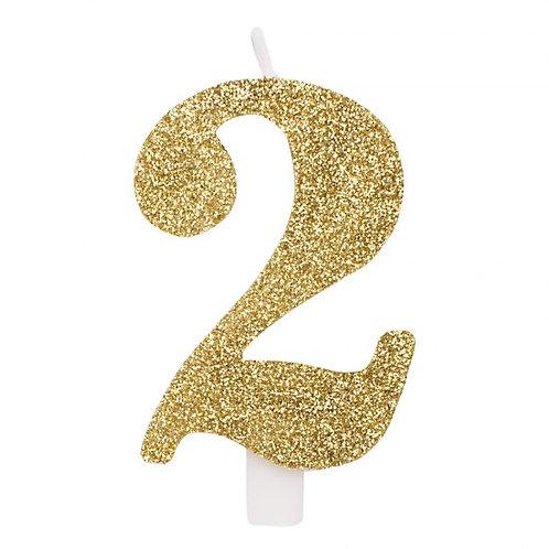 Candelina glitter numero 2 oro h. cm. 9.5