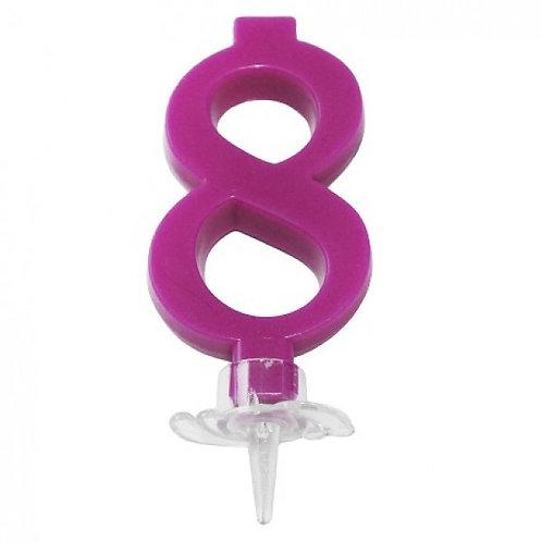 Candelina numero 8 fucsia cm.7