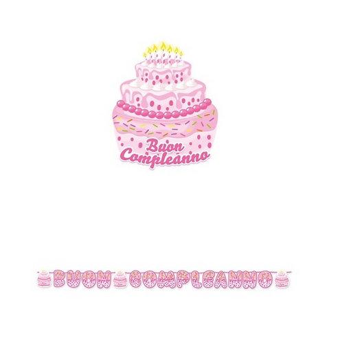 festone buon compleanno cake rosa 6 mt