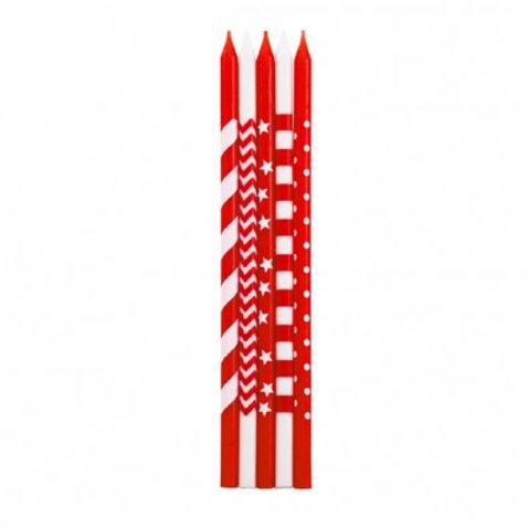 Candela stelo 15,5 cm rossa righe/pois Pz.10