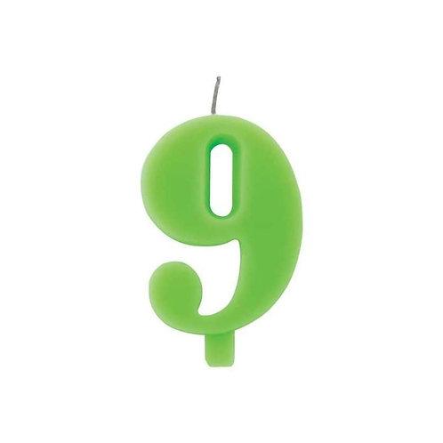 Candelina numero 9 verde lime cm.7