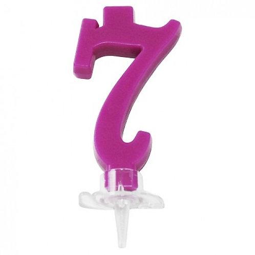 Candelina numero 7 fucsia cm.7