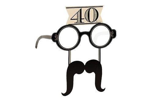 Occhiali in carta 40 anni con baffi 4 pz