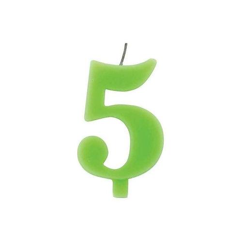 Candelina numero 5 verde lime cm.7