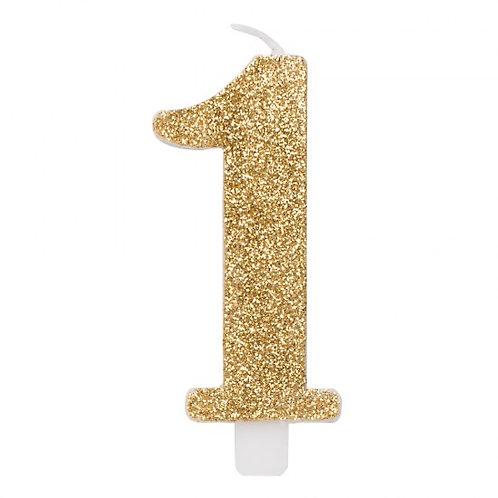 Candelina glitter numero 1 oro h. cm. 9.5