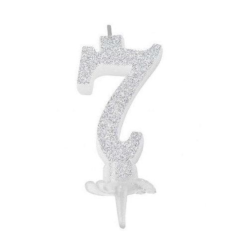 Candelina numero 7 glitter argento cm.7