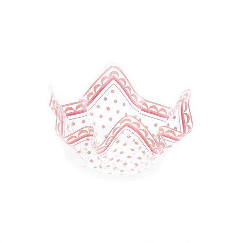 Contenitore in plastica PET trasparente con pois rosa Cm 13x13x7