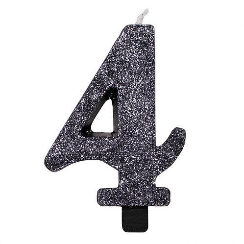 Candelina glitter numero 4 nera h. cm. 9.5