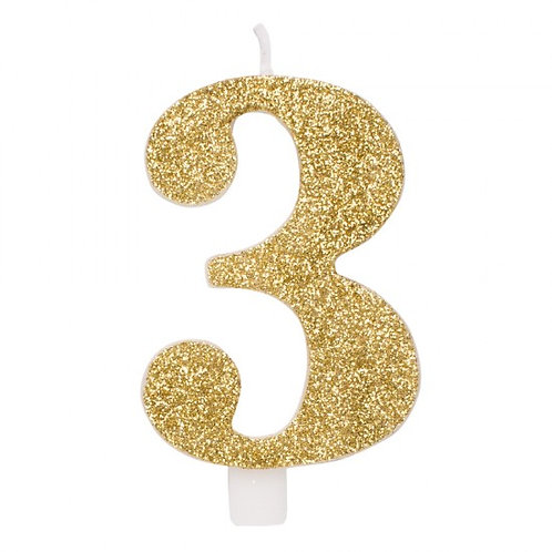 Candelina glitter numero 3 oro h. cm. 9.5