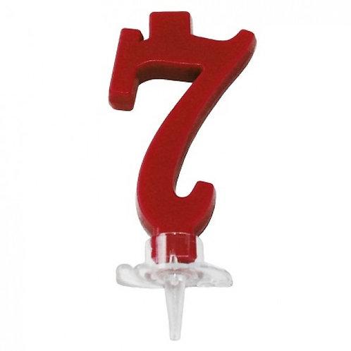 Candelina numero 7 rossa cm7