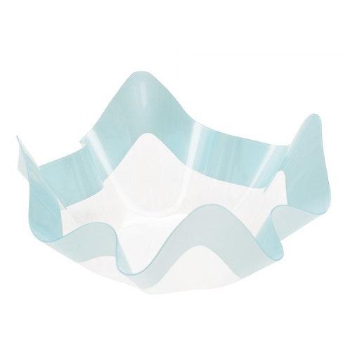 Contenitore in plastica PET trasparente con riga celeste Cm 22,5x22,5x12