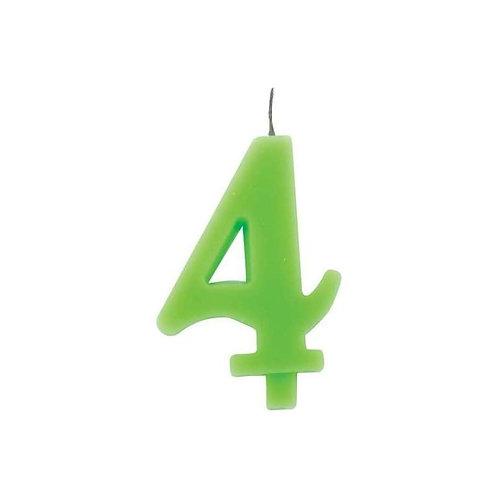 Candelina numero 4 verde lime cm.7