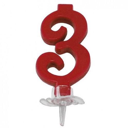 Candelina numero 3 rossa cm.7