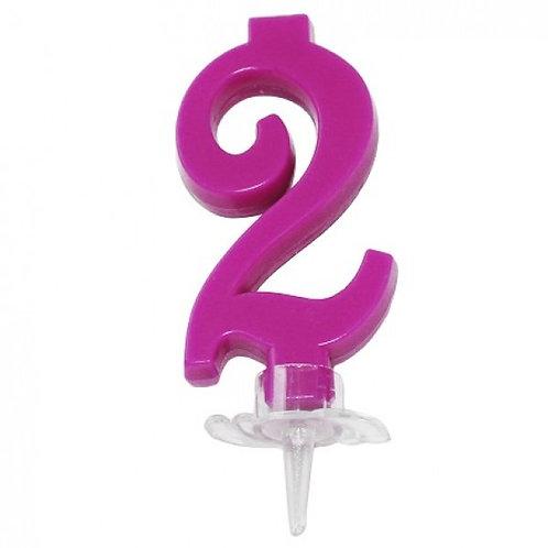 Candelina numero 2 fucsia cm.7