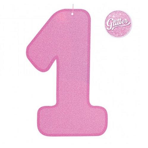 Decorazione numero 1 glitter rosa
