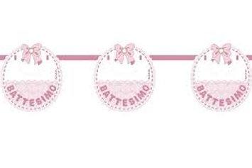 Festone  battesimo bandierine rosa
