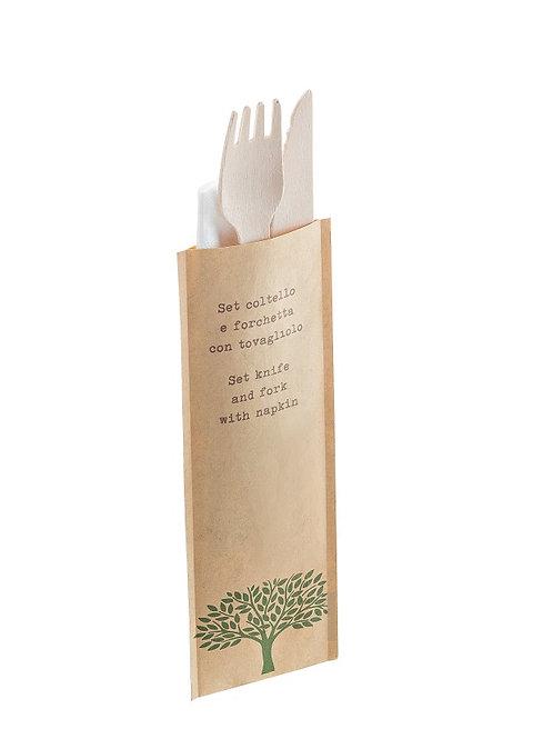 Bis (forchetta+coltello+tovagliolo) in legno Pz.48