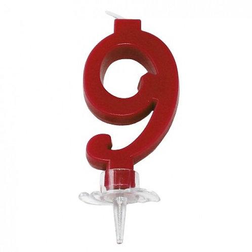 Candelina numero 9 rossa cm.7