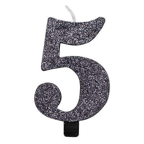Candelina glitter numero 5 nera h. cm. 9.5