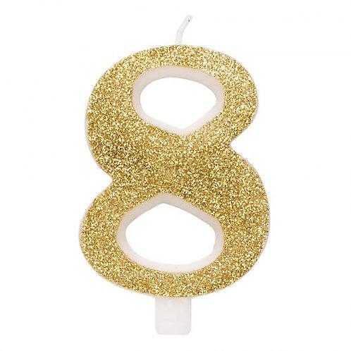 Candelina glitter numero 8 oro h. cm. 9.5