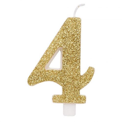 Candelina glitter numero 4 oro h. cm. 9.5