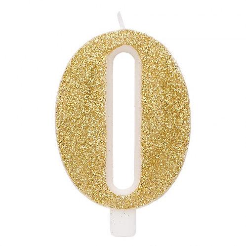 Candelina glitter numero 0 oro h. cm. 9.5